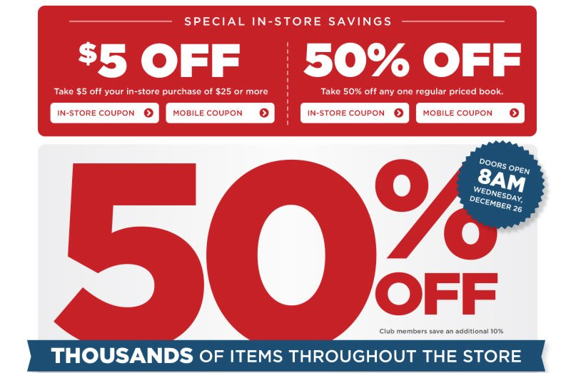 50% Off Thousands of Items Throughout the Store!