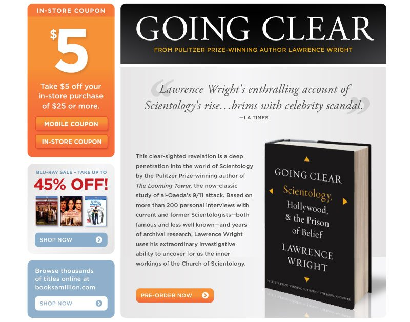 New from Pulitzer Price-Winning Author Lawrence Wright: Going Clear: Scientology, Hollywood & the Prison of Belief.