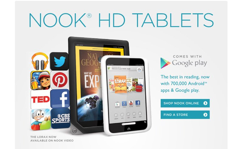 Nook HD Tablets, Now with Google Play