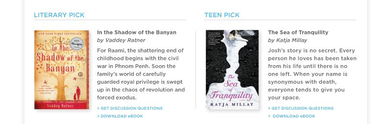 """In the Shadow of the Banyan"" by Vaddey Ratner & ""Sea of Tranquility"" by Katja Millay"