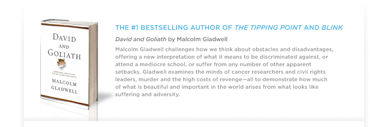 """David & Goliath"" by Malcom Gladwell"