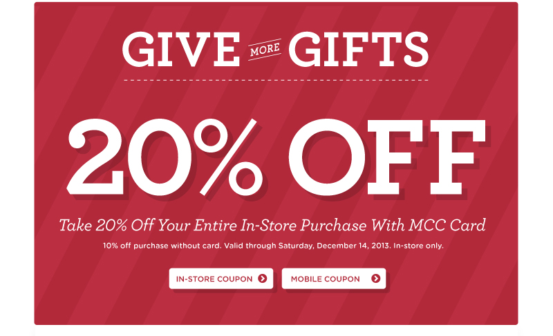 20% Off Your Entire In-Store Purchase
