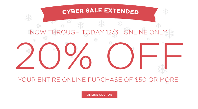"""Cyber Monday 20% OFF"