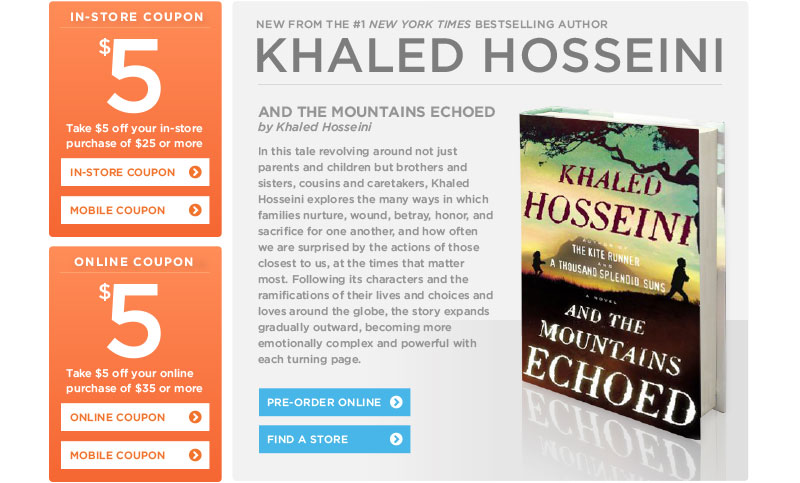 "Khaled Hosseini's ""And the Mountains Echoed&#34 at Books-A-Million"