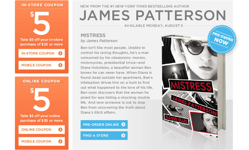 "James Patterson's ""Mistress"" at Books-A-Million"