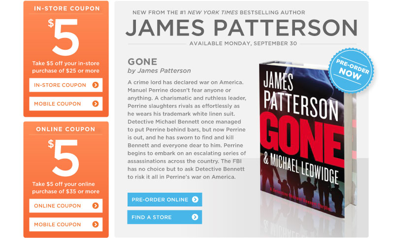 "James Patterson's ""Gone"" at Books-A-Million"