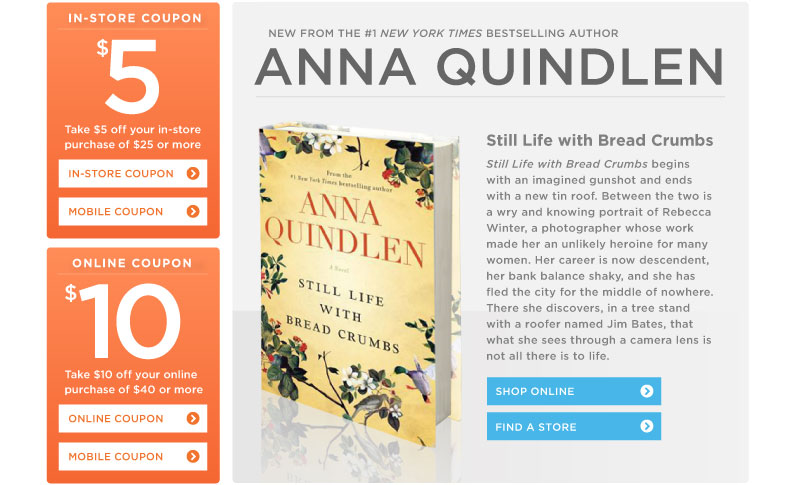 "Anna Quindlen's ""Still Life with Bread Crumbs"" at Books-A-Million!"