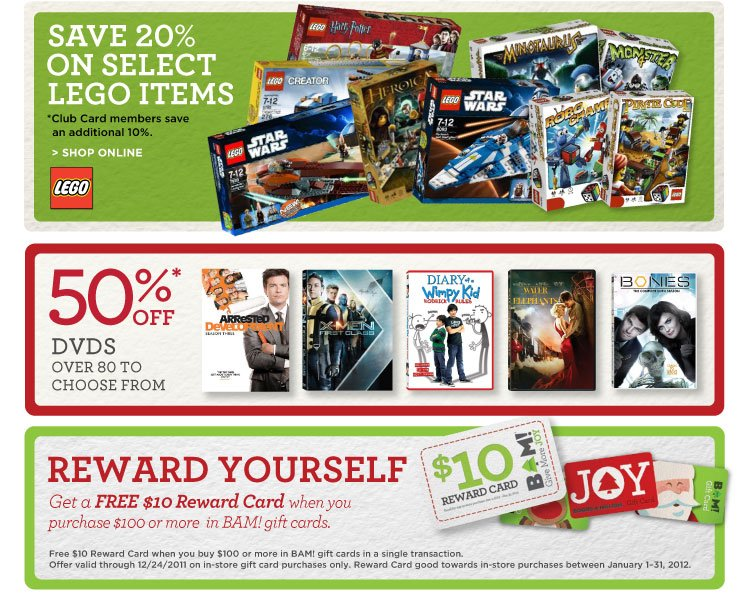 Legos, DVDS, Reward Cards.